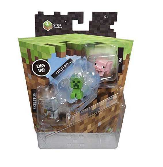 MINECRAFT SERIE CESPED PACK 3 MINIFIGURAS CREEPER+ SKELETON + PIG