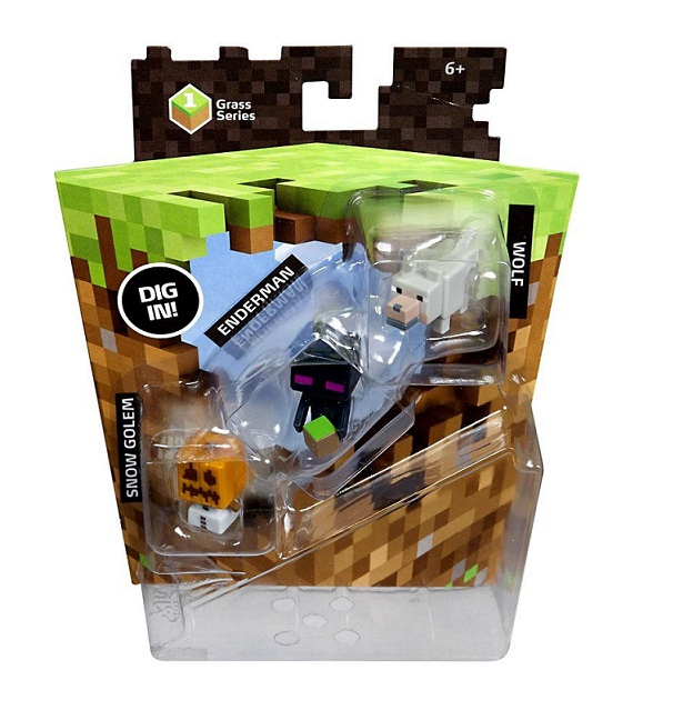 MINECRAFT SERIE CESPED PACK 3 MINIFIGURAS SNOW GOLEM + ENDERMAN + WOLF